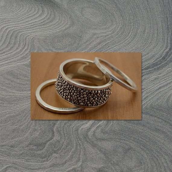 handapplied granulated beads Silver Stackable Rings by djarisilver, $49.00