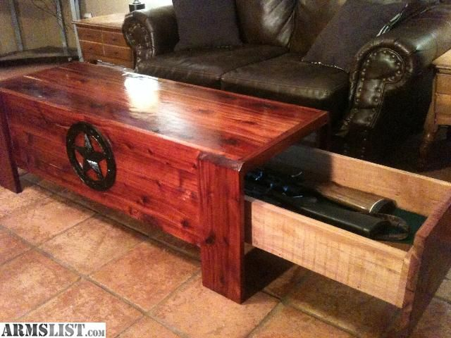 Coffee table with gun storage … | Pinteres…