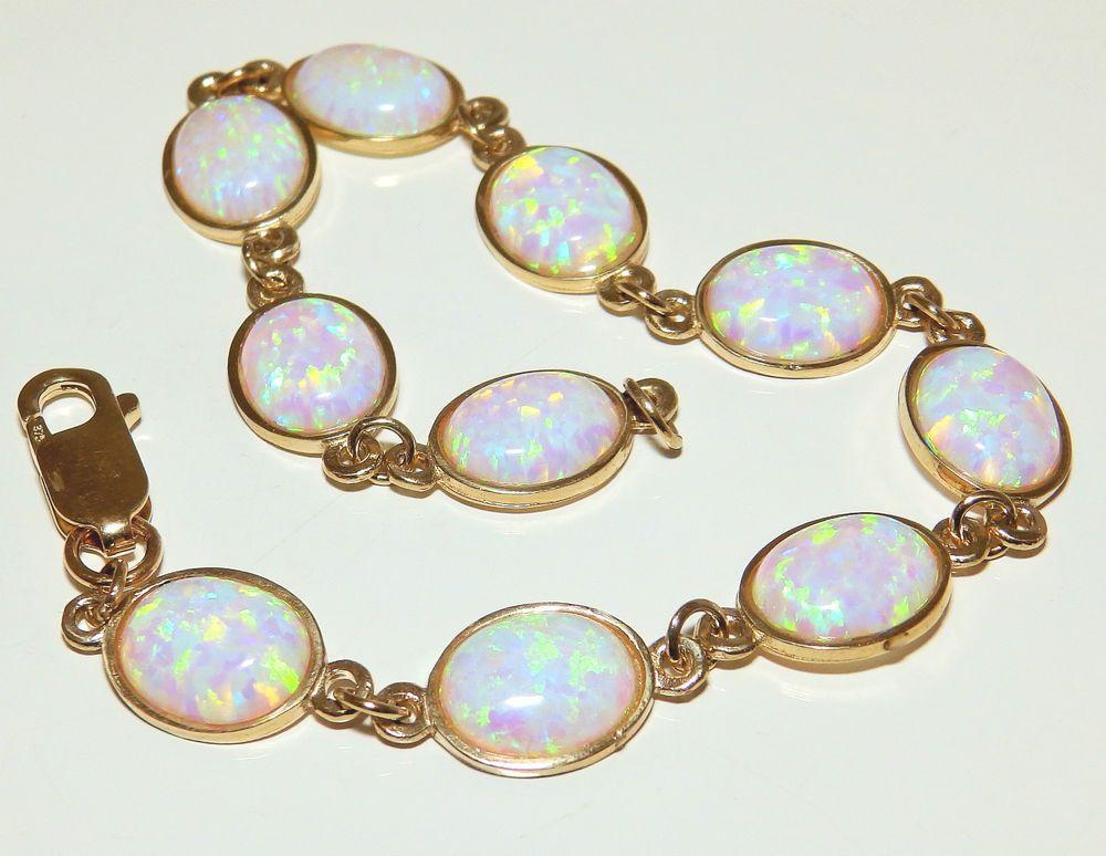 9ct Yellow Gold Oval 15ct Fiery Cabochon Opal Bracelet In Jewellery Watches Fine Bracelets Ebay