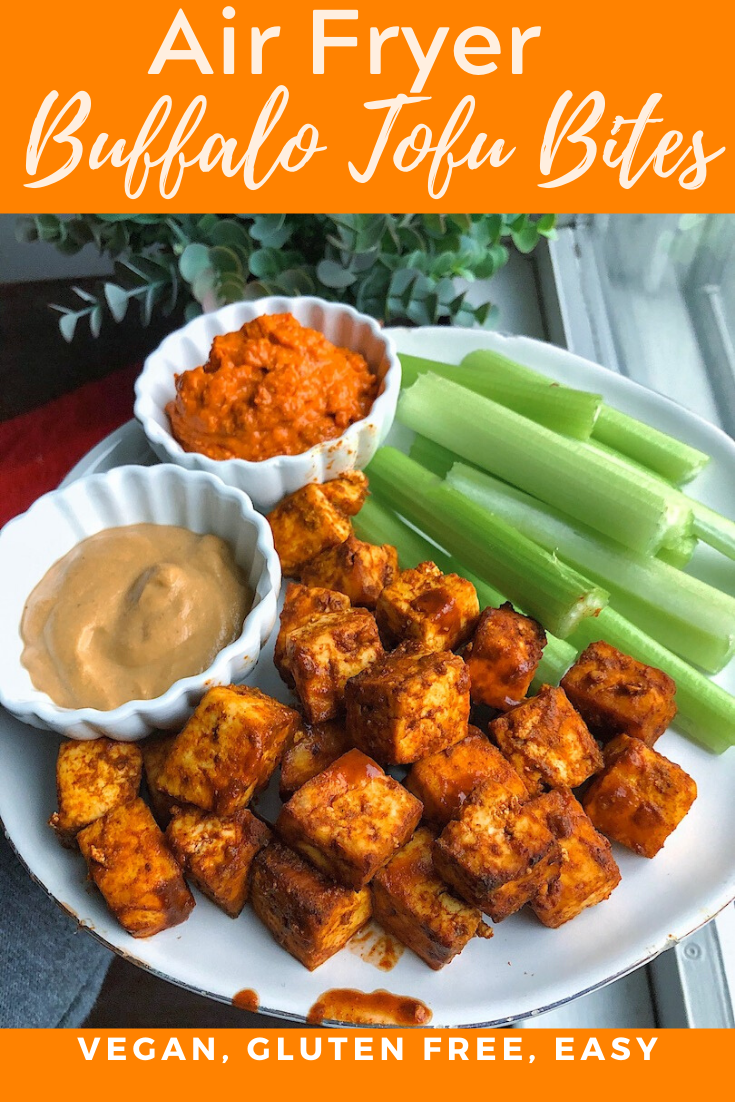 Air Fryer Buffalo Tofu Bites In 2020 Air Fryer Recipes Healthy Air Fryer Recipes Vegan Vegan Recipes Healthy