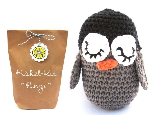 the cutest crocheted penguin ever ;-), crochet kit by lemonata
