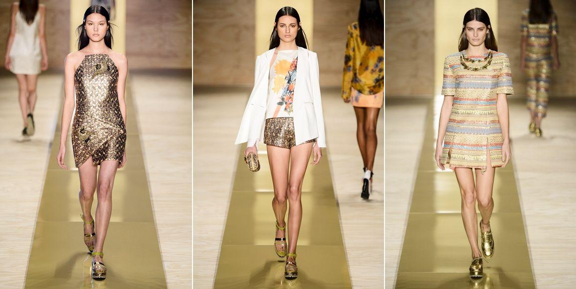 Com uma coleção forte e feminina, a grife Maria Filó investiu em uma linha de roupas repleta de estamparia que envolvia desde padronagens de flores até o geométrico.