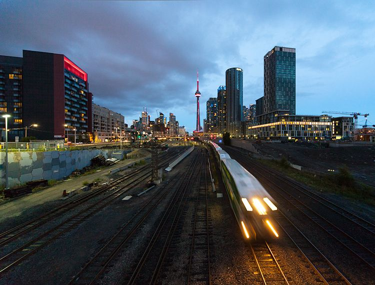 [daily dose of imagery] 08.15.12    Train and Towers || Canon5D2/EF12-24@12 | 1/8s | f4.5 | ISO1000