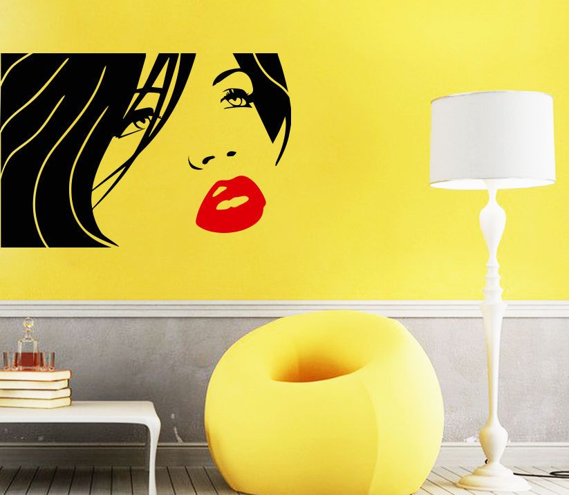 Wall Decal Beauty Salon Decals Girl Face Lips Eye Hair Vinyl Sticker ...