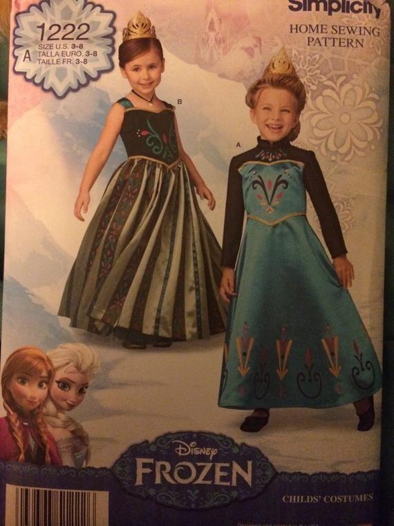 Photo of New Uncut Simplicity FROZEN Elsa & Anna Halloween Costume Pattern Size 3-8 1222 Girls