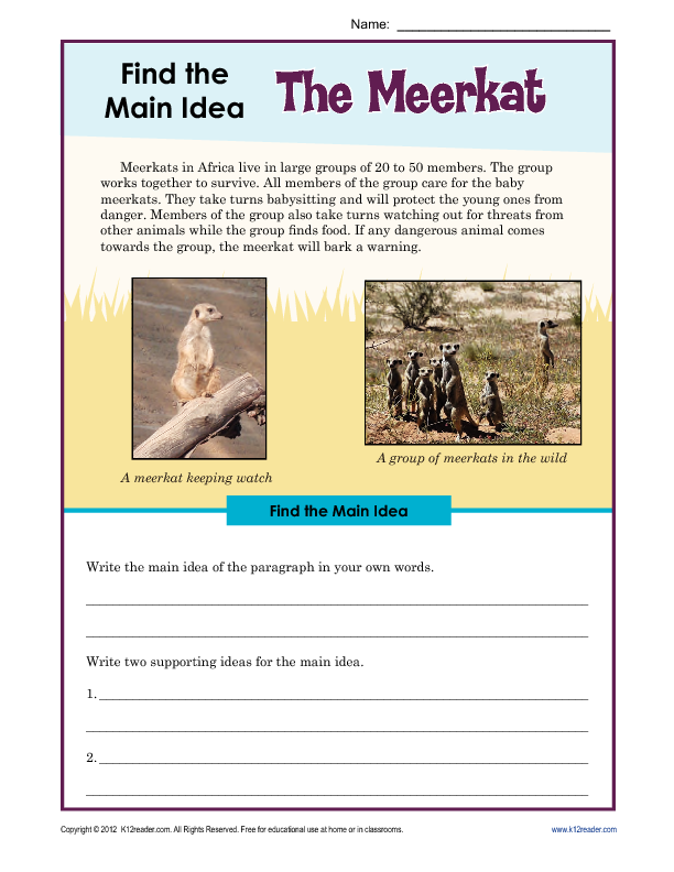 Printable Worksheets main idea worksheets grade 1 : 3rd or 4th Grade Main Idea Worksheet about The Meerkat ...