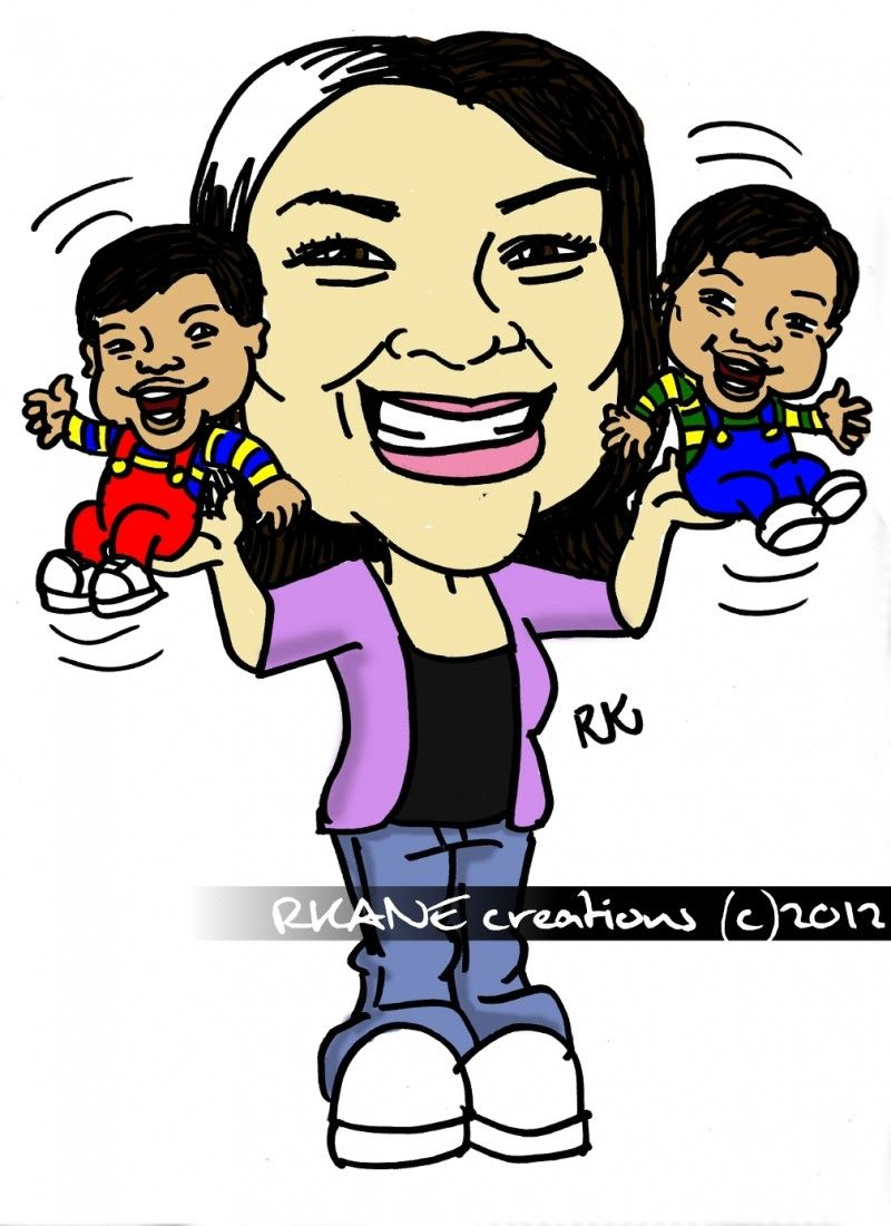 Caricature of Melissa and twins - Sharpie and GIMP