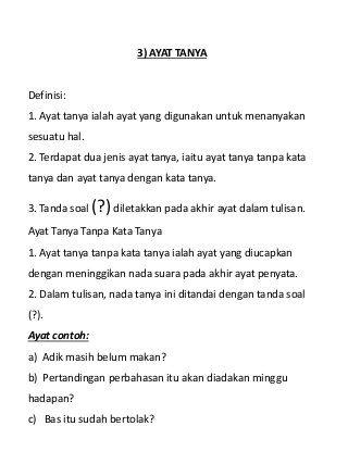 Jenis Jenis Ayat Bahasa Melayu Ayat Tulisan Membaca