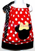 Pillowcase Tie Dress Minnie Mouse Inspired Red with White Dots Disney Embroider Applique Minnie Mouse Applique Tutu Pink Boutique Tutu Pink Pink Tutu Photo Prop Boutique Dress