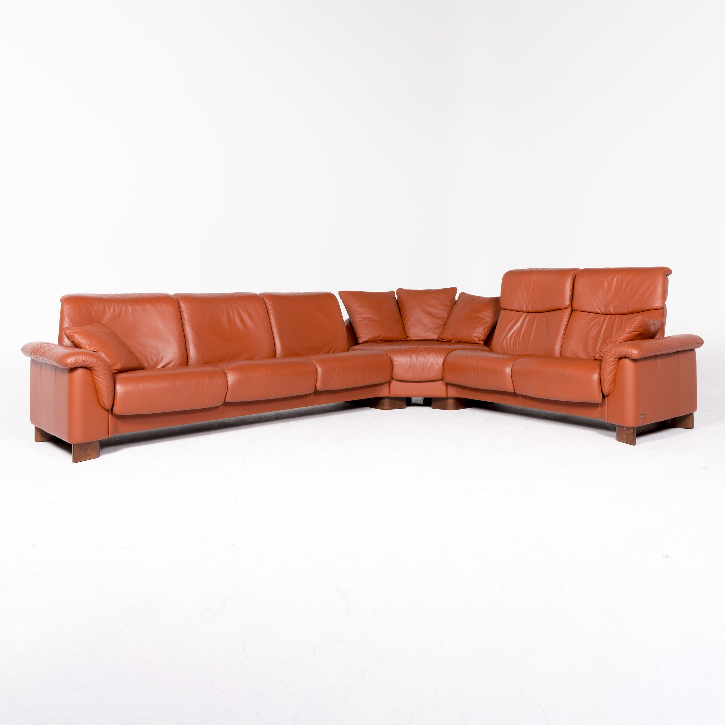 Stressless Eldorado Designer Leather Corner Sofa Orange Terracotta Real Leather Sofa Couch 8655 Real Leather Sofas Corner Sofa Orange Leather Sofa Couch