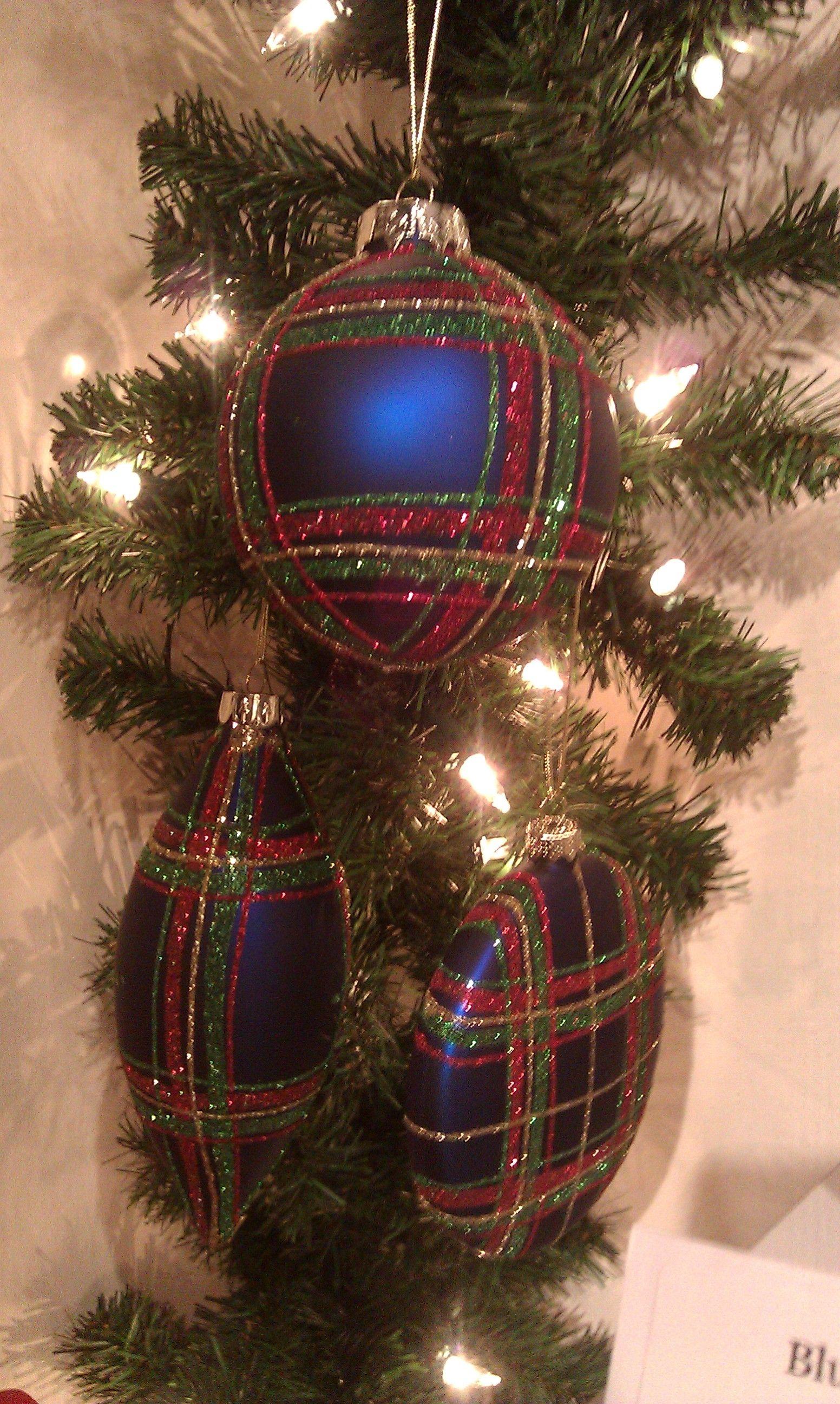 Blue Plaid Ornaments 3 Styles Plaid Christmas Decor Tartan Plaid Christmas Tartan Christmas
