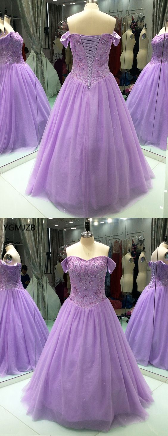 Lilac ball gown strapless floorlength evening dresses ball gown