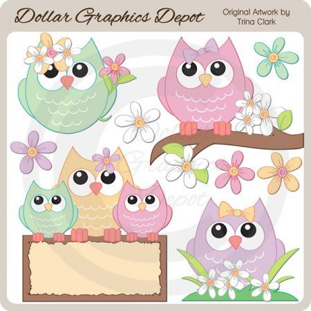 Pretty Spring Owls - Clip Art