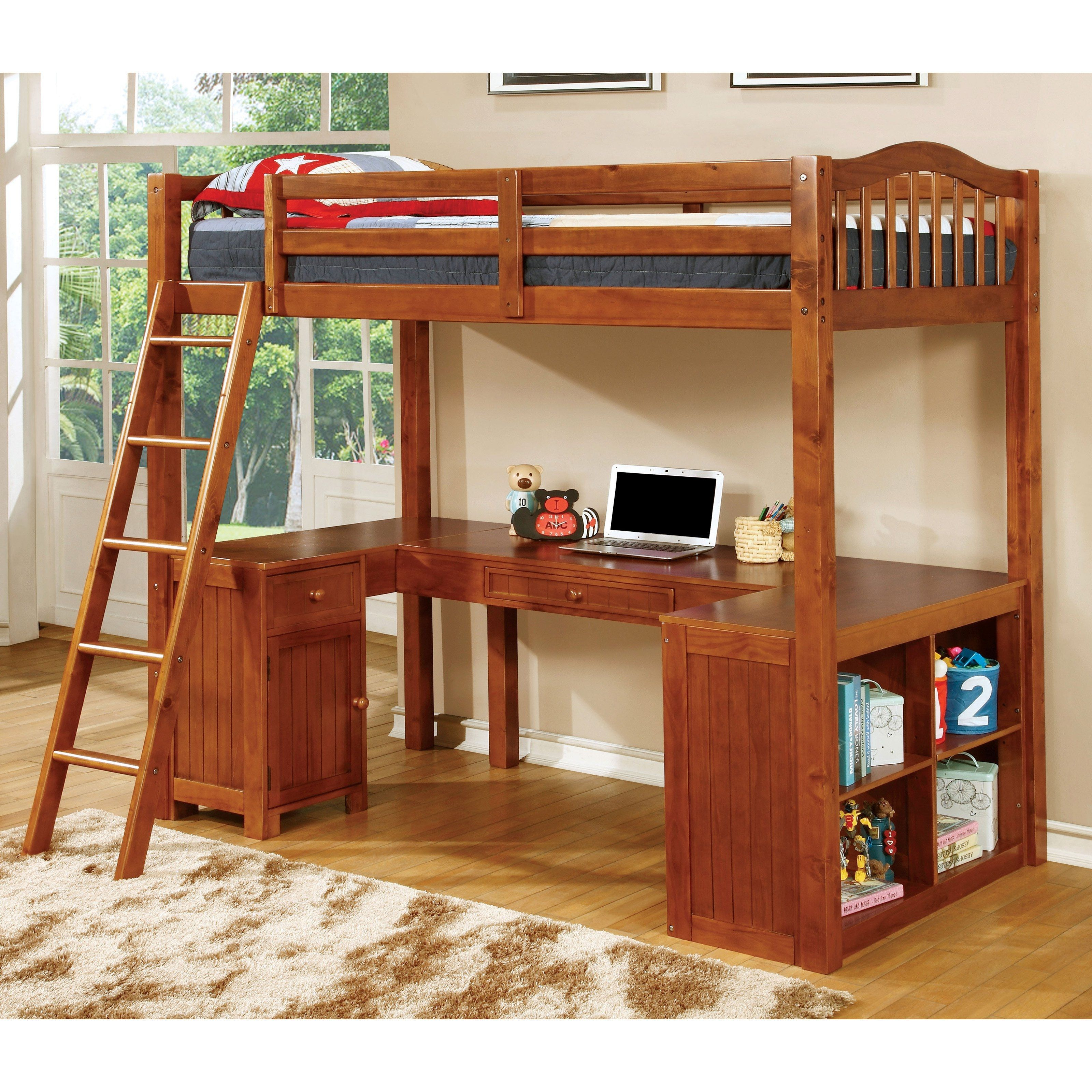Twin wood loft bunk bed with computer desk workstation
