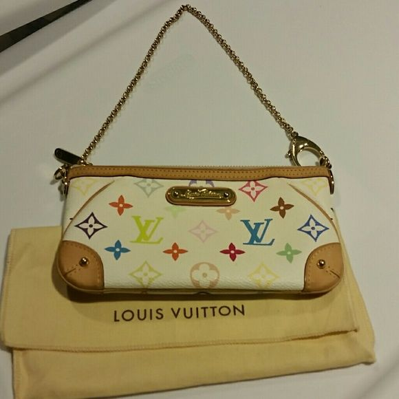 Authentic Louis Vuitton multicolor milla clutch mm Beautiful.  Slight waterstain on corner, otherwise perfect.  Comes with dustbag.  A lot cheaper on my tradesy account @meganlouise Louis Vuitton Bags Clutches & Wristlets