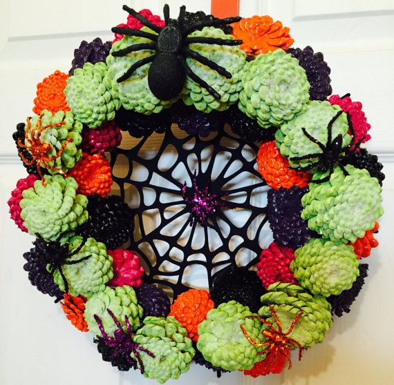 Halloween Wreath Zinnia Pinecone Wreath Glow By