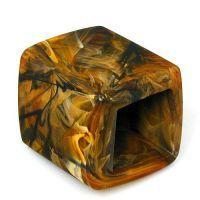 Braun-marmorierter Tuchring in Form eines Sechsecks Modischer Chic und aparte Extravaganz werden bei diesem  braun-marmorierten Tuchring  großgeschrieben. Der rund 45 x 36 mm große Tuchring...