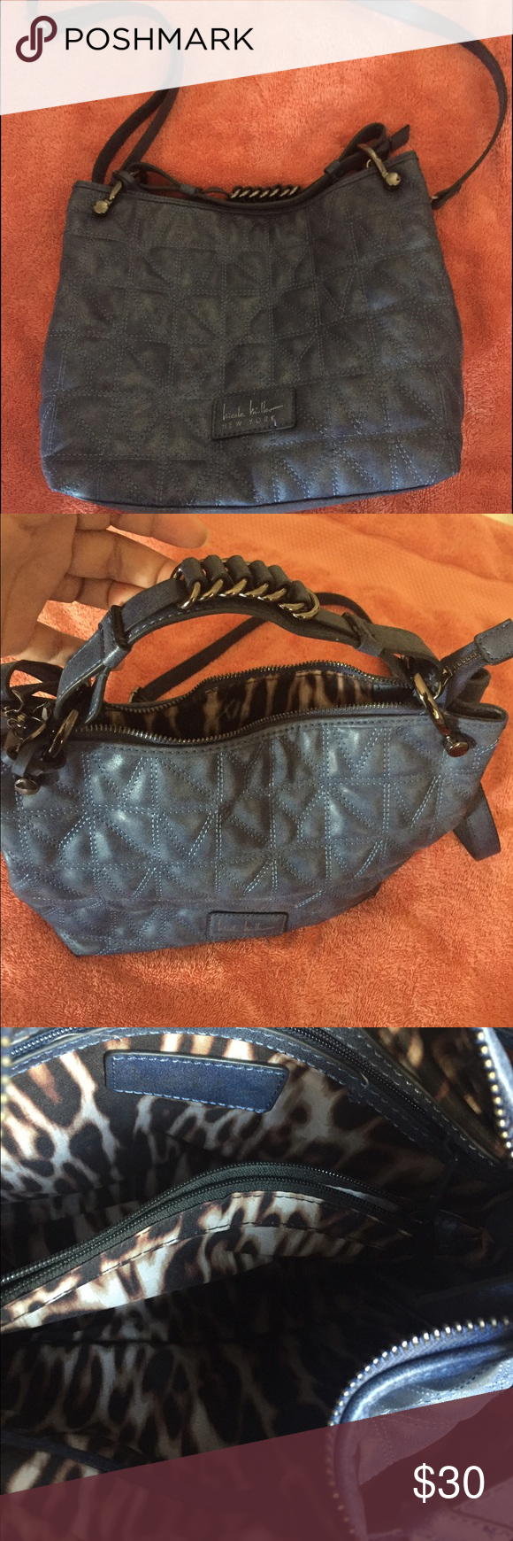 Nicole Miller cross body bag. Nicole Miller Cross body bag. Blue in color. Very good condition.                                                             FINAL SALE!!!! Will be donated soon!! Nicole Miller Bags Crossbody Bags