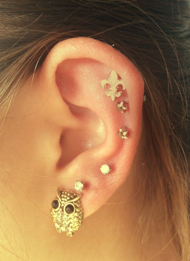 Nice arrangement of multiple ear piercings | Cute Ear ...