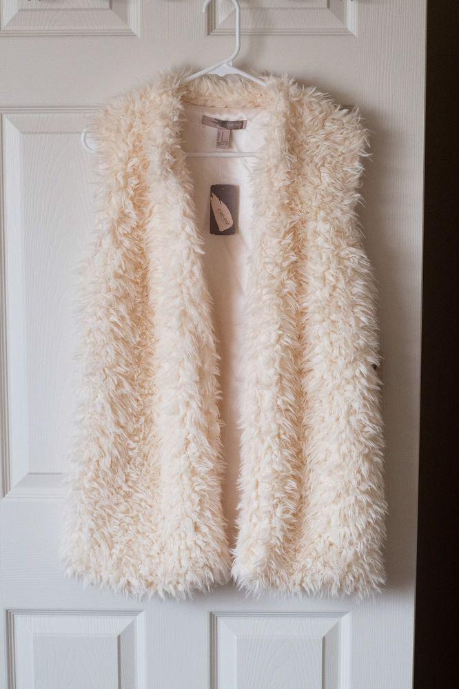Faux Fur Vest Cream Forever 21 Women's Size Medium  | eBay