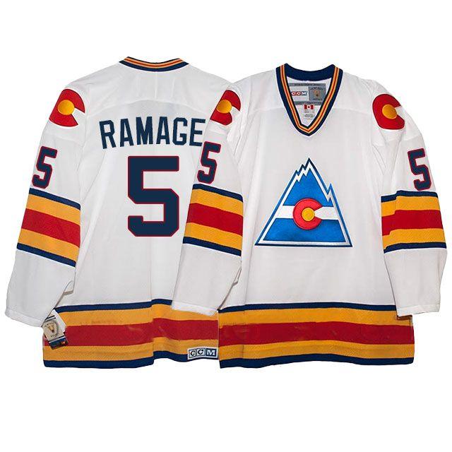 best service 833a1 57fb1 rockies rob ramage throwback white jersey | NHL Jerseys ...