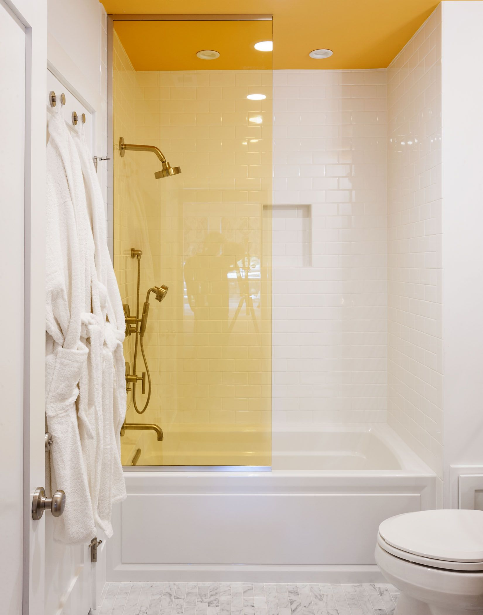 Bathroom Shower Yellow Glass White Tiles Modern Simple Livingetc Yellow Bathroom Decor Yellow Bathroom Walls Yellow Bathrooms