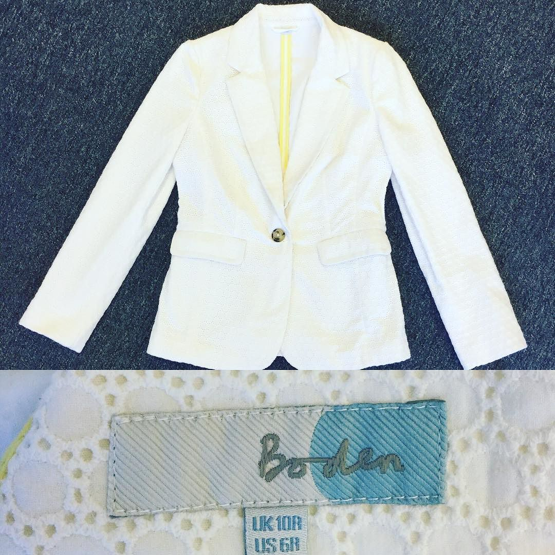 #Boden #Eyelet #Jacket | Size 6 | $53! Call for more info (781)449-2500. #FreeShipping #ShopConsignment  #ClosetExchangeNeedham #ShopLocal