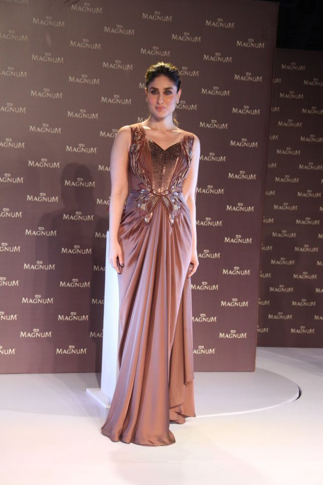 Kareena Kapoor In Amit Aggarwal Evening Gown For Magnum Launch ...