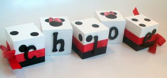 Mickey/Minnie Name Blocks I will make as a center piece for Charley's First Birthday