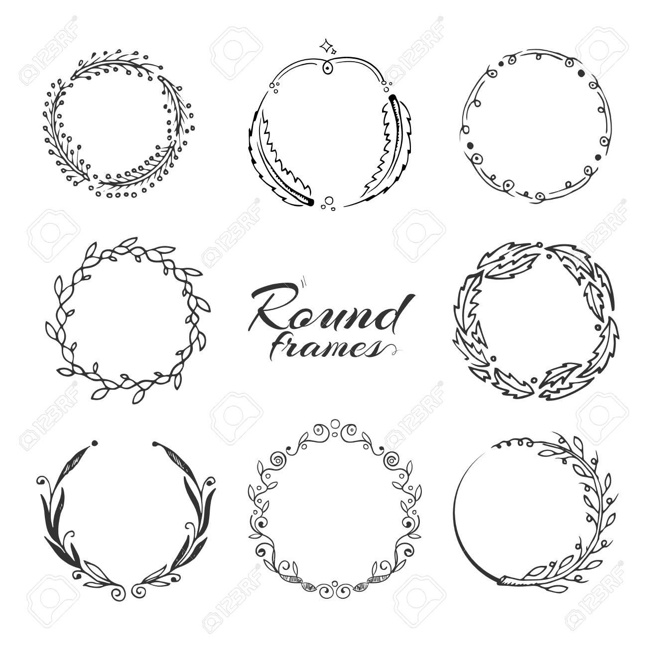Branch With Leaves Laurel Wreath Floral Circle Frames For Decoration Hand Dra In 2020 Leaf Illustration Laurel Wreath Circle Frames