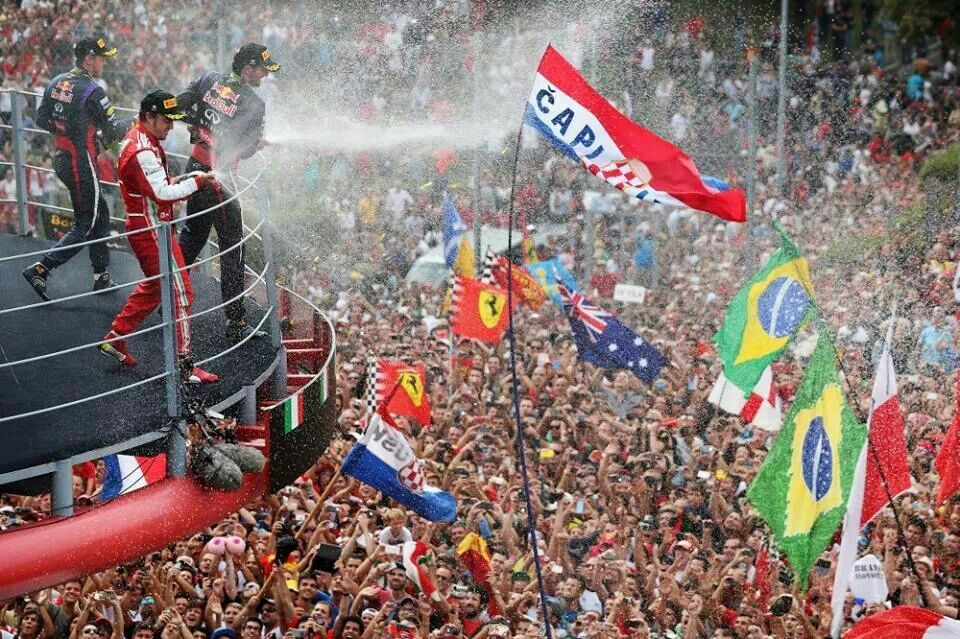 Champagne celebrations at the Italian grand prix
