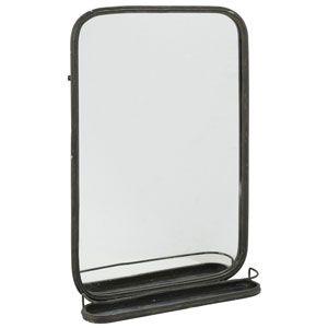 Grand miroir rectangulaire en métal noir avec tablette Athezza 119 ...