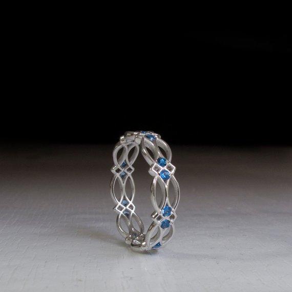 pattern gothic Celtic Ring Something blue Gold Ring gift Blue gemstone ring Sapphire Ring sapphire promise Eternity Ring