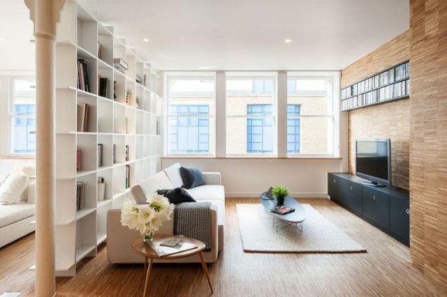 Wohnzimmer einrichten Fernseherschrank Sofa beige Wohnideen