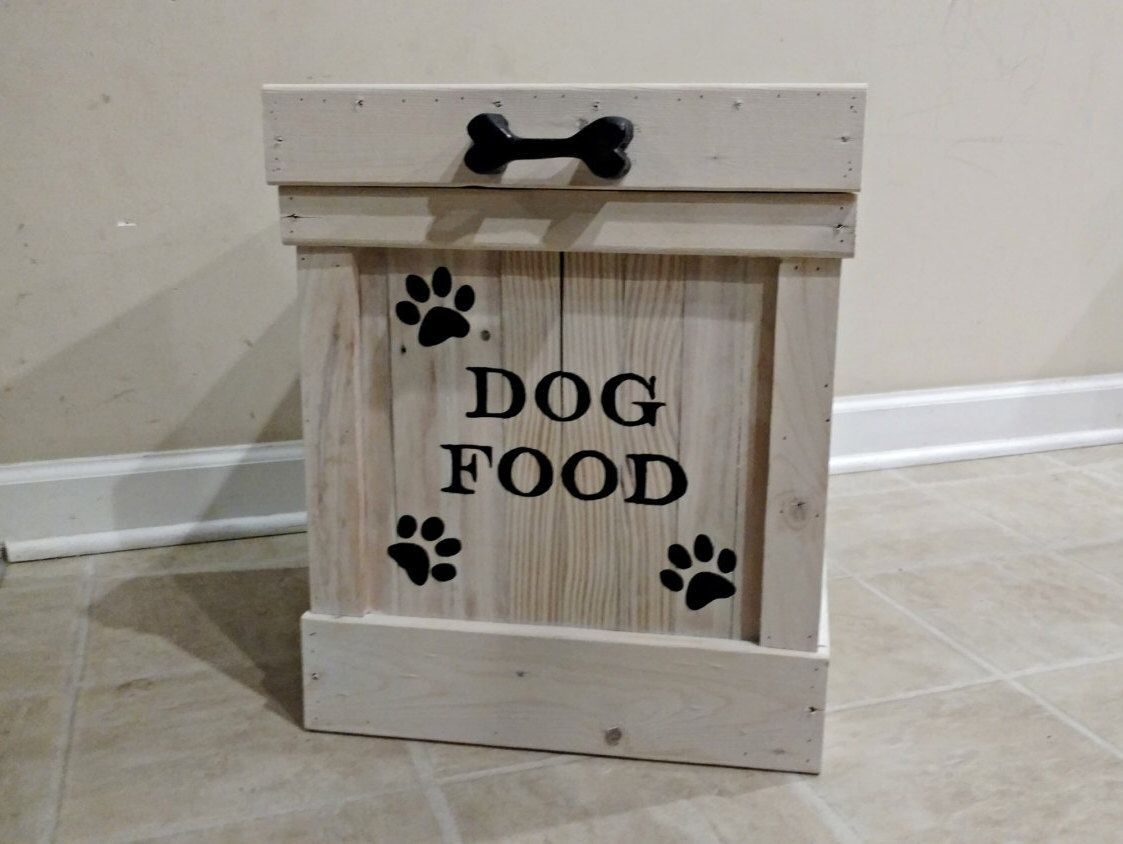 Delightful Dog Food Container, Pet Food Storage, Storage Container, Cat Food Bin, Wood  Container, Dog Food Storage, Doggie Bone Handle, Pet Storage