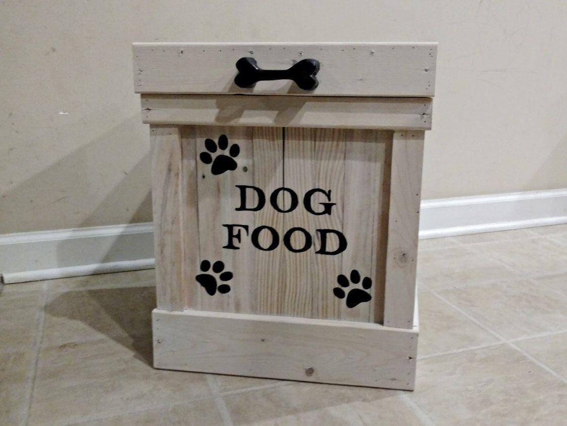 Elegant Dog Food Container, Pet Food Storage, Storage Container, Cat Food Bin, Wood