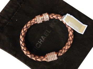 Michael Kors Leather Bracelet with Rose Gold and Rhinestone Accents...Magnetic Closure  $109