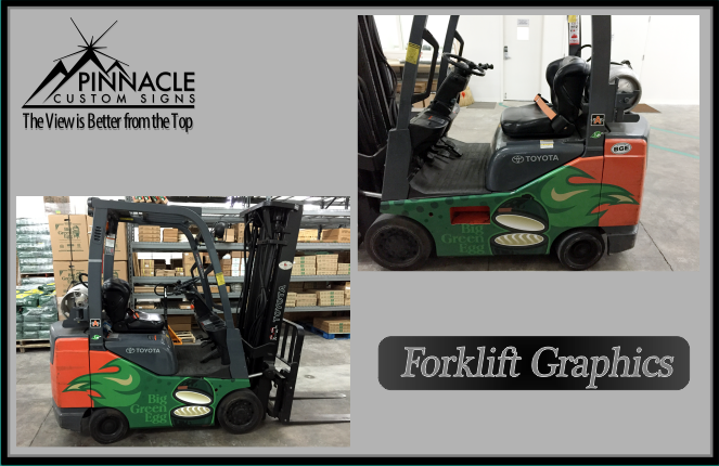 Do you want to wrap a vehicle but scared you might think it's a crazy idea? Don't worry, we are here for you! Big Green Egg has a cool wrapped forklift now! We can wrap any vehicle! #vehiclegraphics #forkliftgraphics
