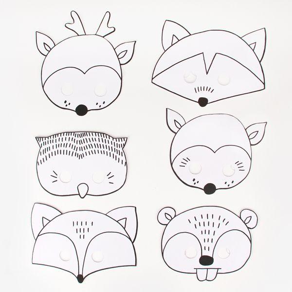 6 masques colorier animaux des bois masques et - Masque de chat a colorier ...