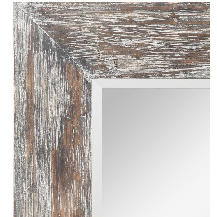 Rustic White Washed Framed Mirror Rustic White Wash