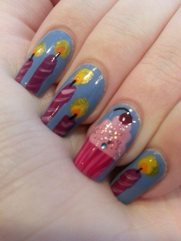 Birthday Themed Nail Arts Pretty nail art Birthday nails and