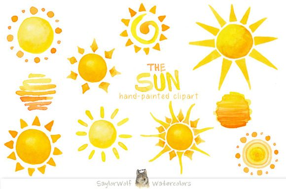 Watercolor Sun Clip Art By Saylorwolf Watercolors On Creative