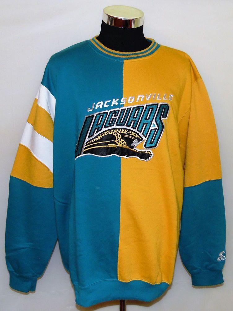 57a140ad9 Jacksonville Jaguars NFL Old Logo Vintage Starter Crew Neck Size XL w/  Snapback #Starter #JacksonvilleJaguars