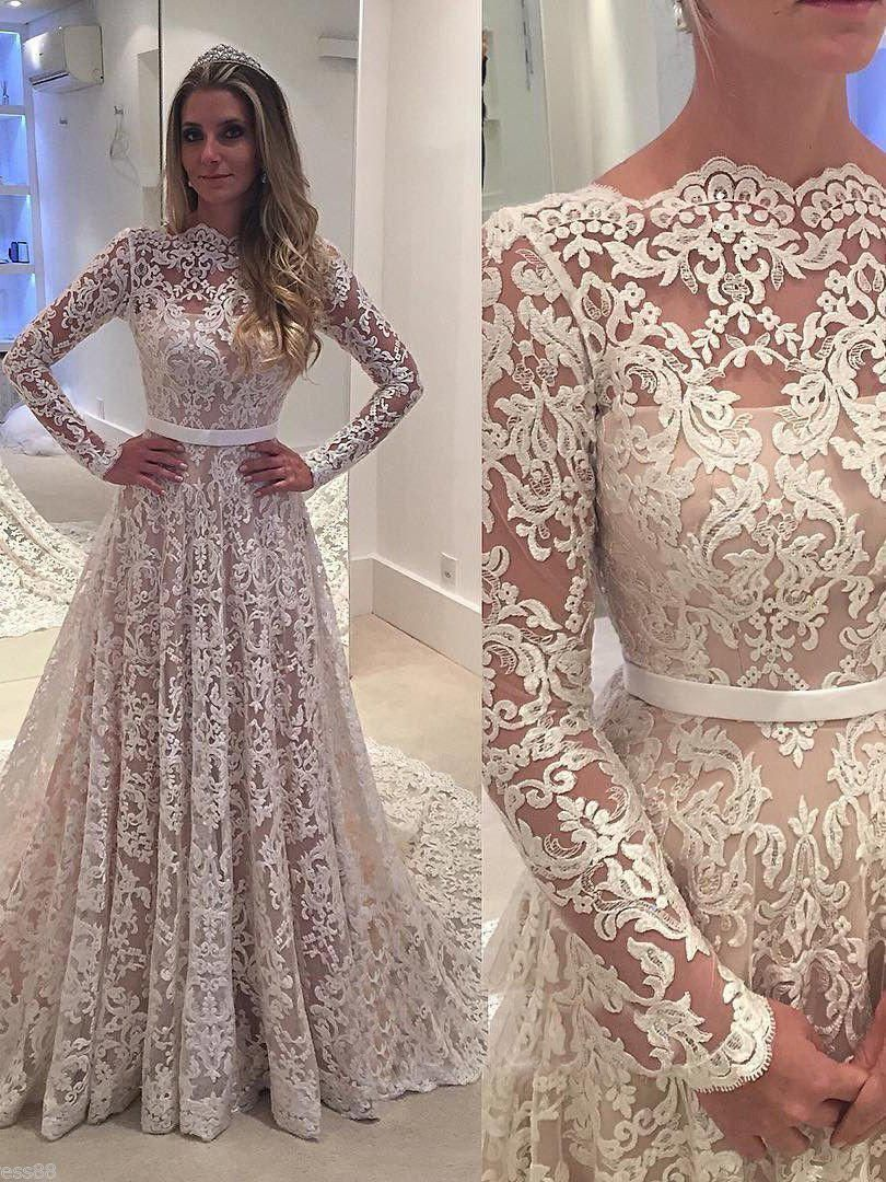 Chapel Train Vintage Lace Wedding Dresses Long Sleeves