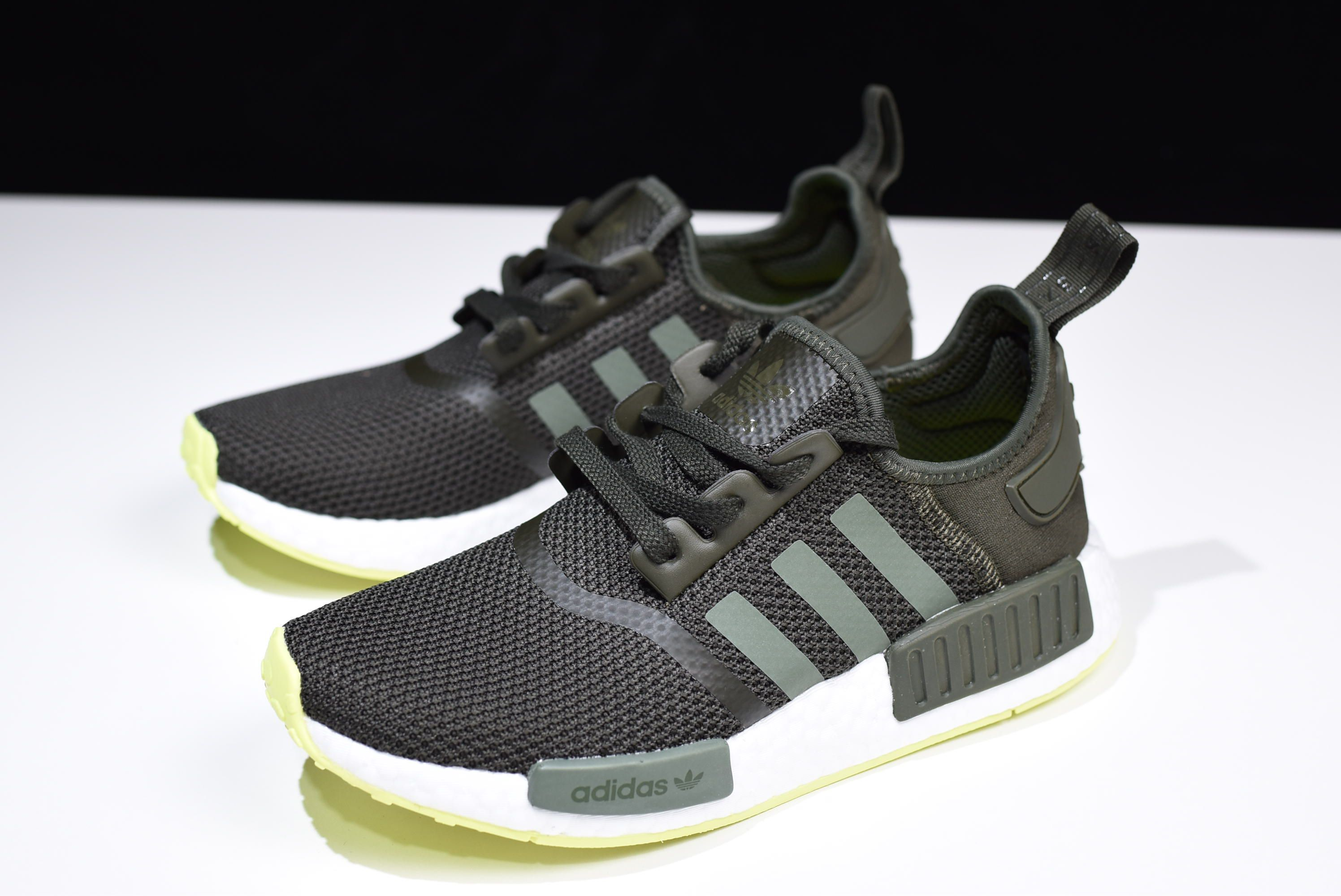 new product e67cc a2d95 2018 adidas NMD R1 Night CargoBase Green-Semi Frozen Yellow CQ2414