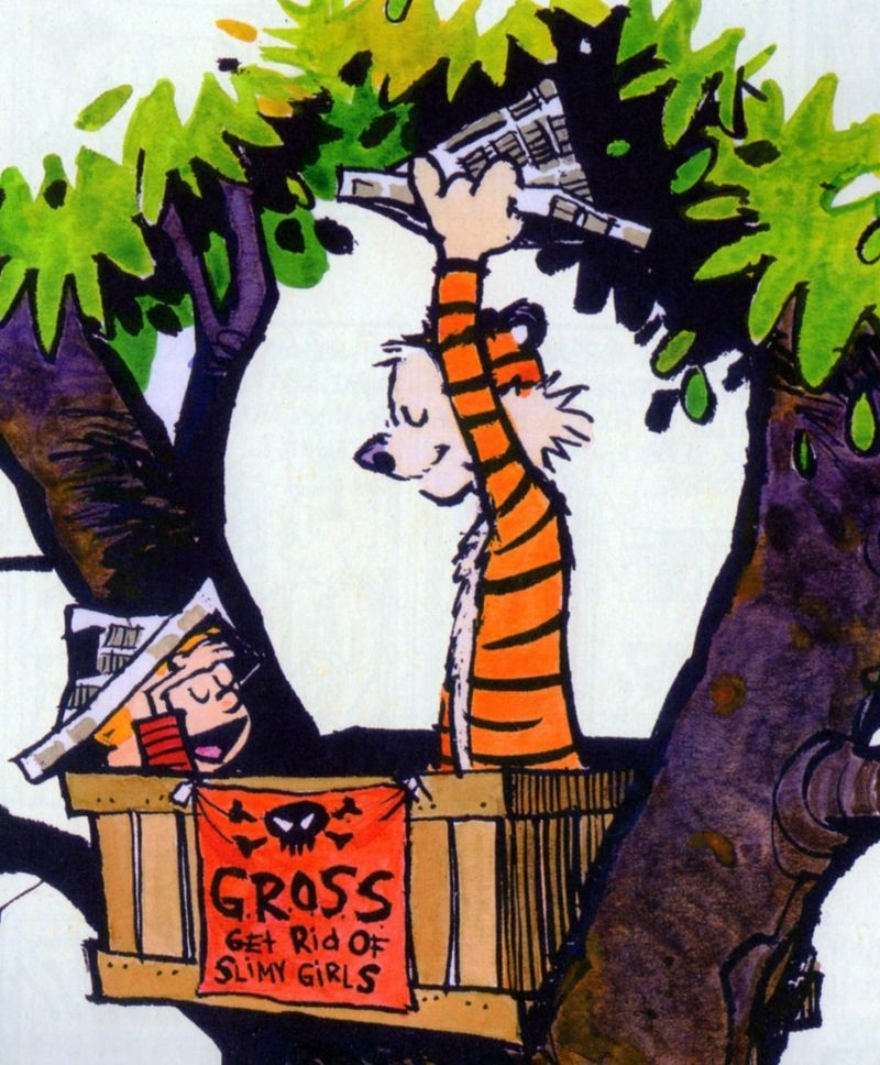 Calvin and hobbes treehouse sign get rid of slimy girls g for Calvin house