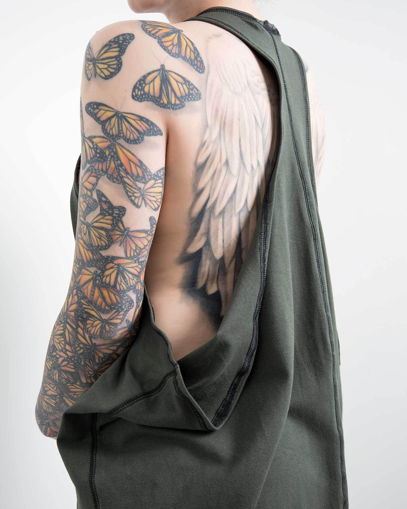 Sokaiya Tank Dress Fake tattoo sleeves, Side stomach