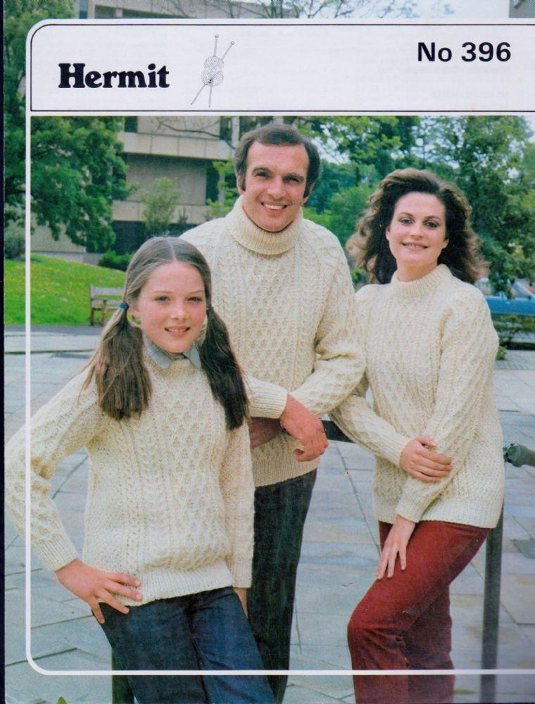 c786463291e240 Original Vintage Aran Knitting Pattern Ladies Mens Children s Sweater Jumper  Chest 26 - 44