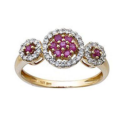 Ruby and Diamond Circle Ring