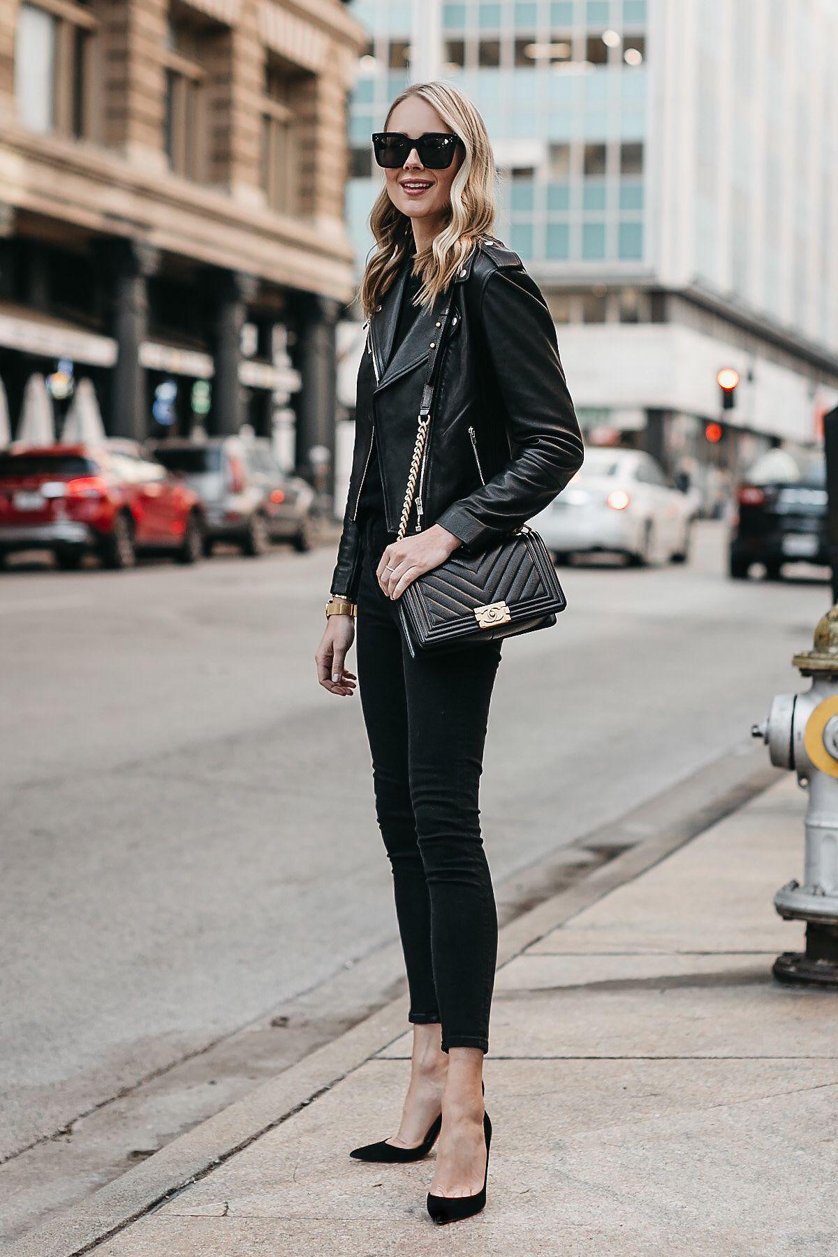 ed9b51e4f673a4 Blonde Woman Wearing Club Monaco Black Leather Jacket Black Sweater Black  Skinny Jeans Black Pumps Chanel Boy Bag Fashion Jackson Dallas Blogger  Fashion ...